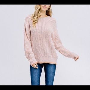 Crewneck Pullover Dusty Peach Knit Sweater
